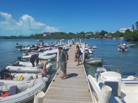 The Exuma Market dinghy dock...always a happening place.