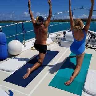 Yoga on the bow.