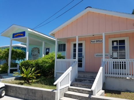 Look carefully in the Post Office door's window...Open Monday, Wednesday, Friday noon-2 p.m. Man-O-War Cay