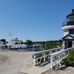 A replica of the Brant Point Light house built in 1746 in Nantucket, the lowest lighthouse in New England with the light only 26' above sea level.