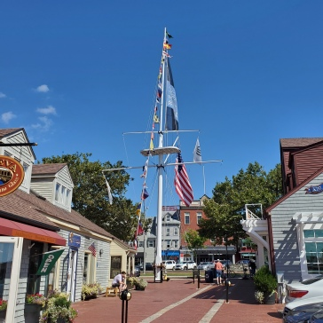 "The lively waterfront in Newport, the busiest harbor in the area. Also know as the ""Sailing Capitol of the World."""