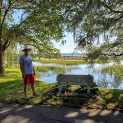 "The sign reads, ""This view presented by City of Beaufort."" There are such lovely views of the water, homes and live oak trees dripping with Spanish moss."
