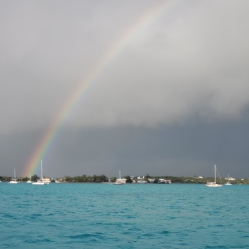 The picture doesn't capture the full rainbow that appeared during the storm in George Town.