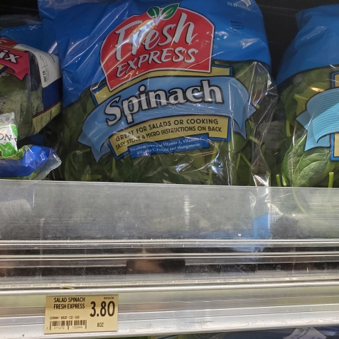 The only bargain in the bounteous grocery stores: 10 oz. spinach for only $3.80!